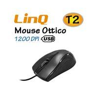 MOUSE USB 2.0 LINQ T2 1200DPI ERGONOMICO UNIVERSALE ANTISCIVOLO ALTA PRECISIONE-
