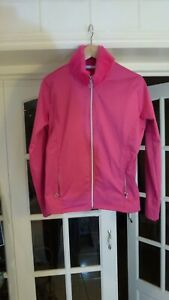a SWING OUT SISTER GOLF Women Pink Fur Collar Stretch Jacket Full Zip Size S