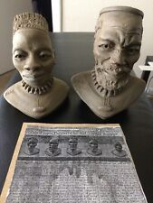 H. Ntuli Clay Sculpture Pair signed Eshowe Zulu  S.Africa + NY Times Article