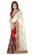Indian Ethnic Georgette White Embroidered Saree Sari D.No SAR1683