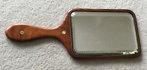 Antique? Wooden Vanity Hand Mirror measures about 36x15cms bevelled edge
