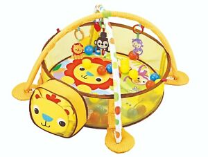 Baby Playmat 3in1 Activity Lion Play Mat With Colourful Balls & Sensory Toys