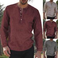 Herren Mode Retro Taste Leinen Baumwolle Langarm Shirt Bluse Hemd Tops Oberteile