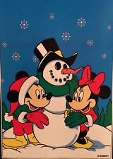 Disney Mickey Mouse Minnie Snowman Christmas Winter Snow Large Yard Flag New