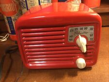 "vintage Silvertone ""Metal Midget"" beautiful bright red working radio No 8003"