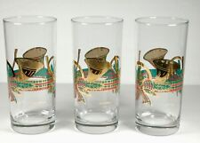 Three Vintage Culver French Horns and Bows Christmas Gold Trim Glasses