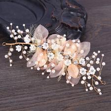 Vintage Gold Flower Pearl Leaf Hair Clip Head Piece Wedding Bridal Party Hairpin