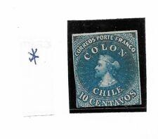 CHILE  YEAR 1861, COLUMBUS, BLUE, SCOTT 12a, MICHEL 5b, MINT HINGED