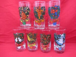 LOT OF 7 VTG TWELVE 12 DAYS OF CHRISTMAS GLASSES TUMBLERS 2nd 8th 9th 11th 12th