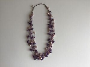 Kit Heath Beaded Necklace - Multi Strand, Purples And Pearl