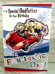 Birthday Card To A Special Godfather, Car With Kids Bears & Football