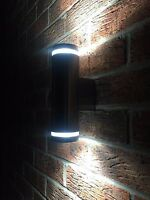 MODERN STAINLESS STEEL DOUBLE OUTDOOR WALL LIGHT UP AND DOWN + LED 6W LAMP BULB