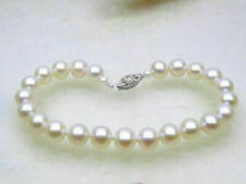 "HOT SELL AAA NATURAL SOUTH SEA WHITE ROUND PEARL BRACELET 7.5-8""14K gold clasp"