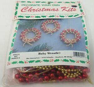 Ruby Wreath Ornaments Beading Christmas Craft Kit Merri Mac Enterprises Vintage