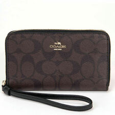 Coach Zip Phone Wallet Clutch Wristlet Signature Brown Leather NWT NEW 57468