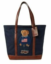 Polo Ralph Lauren 50th Anniversary Bear Logo USA Flag Leather Navy Tote Bag