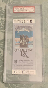 1975 Super Bowl IX Pittsburgh Steelers Vs Minnesota Vikings PSA 5 Full Ticket