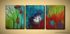 3 Piece Panel Abstract Painting Trees Wide Contemporary Art Canvas Ann Mikhail
