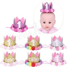 Baby Birthday Crown Sparkly Party Sequins Hats Crown 1st Flowers Tiara Headband