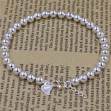 H&E Silver Plated Chain Bracelets New Beads Bracelet  Heart Pendant Bangles JR