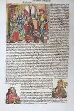 INKUNABEL BLATT UNWETTER MISSGEBURTEN PESTILENZ MACHOMET SCHEDEL CHRONIK 1493