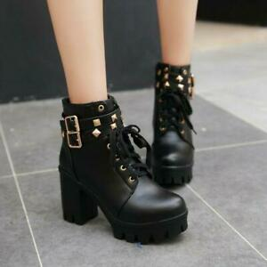 Womens Gothic Rivets High Block Heel Lace Up Motorcycle Ankle Boots Combat Shoes