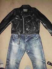 FIRST Men's Leather Jacket 44 L XL Black Motorcycle American Classic True Rock