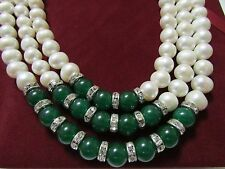 Handmade 3 Layer Natural White Freshwater Pearl/Grade A Jade Necklace Mom's Gift
