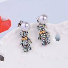 New Fashion Betsey Johnson rare alloy Rhinestone Bear pearl drop earrings Jewel