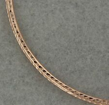 14k Rose Gold Dainty Diamond Cut Hollow Bangle 7.8 inches Perfect Gift