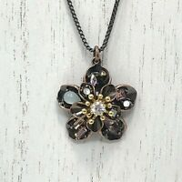 Juicy Couture Flower Copper Color Rhinestone Necklace With Hang Tag