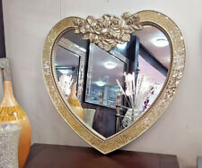 Heart Crackle Wall Mirror Ornate Frame French Engraved Rose Glass Champagne
