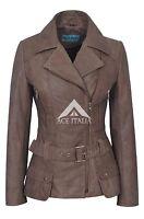 FEMININE Ladies Real Leather Jacket Brown Vintage Napa Biker Style Designer 2812