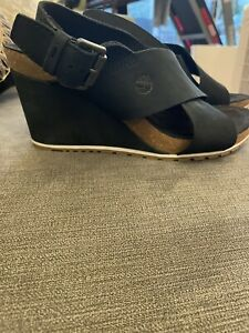 Ladies Timberland Leather Wedge Sandals Size 41  71/2