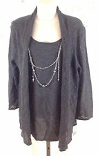Gray Sweater set size S Small With silver Necklace Mock twinset Alfred Dunner