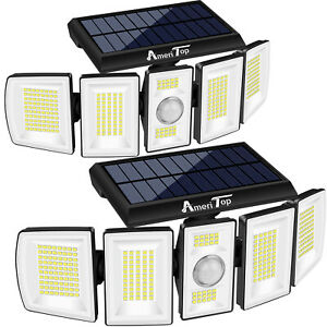 2Pack Solar Security Lights Outdoor 1100LM LED Motion Sensor IP65 Waterproof