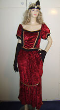 LADIES EDWARDIAN VICTORIAN SALOON WESTERN FANCY DRESS COSTUME M 10-12 USED