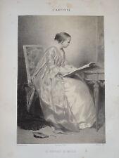 Ch. CHAPLIN (1825-1891) LITHO PORTRAIT FILLE MODE FEMME SALON C. NANTEUIL 1850