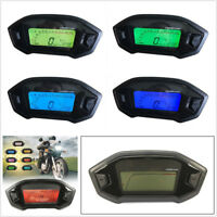12V 7 Color LED Motorcycle LCD Digital Speedometer Odometer Tachometer KMH Gauge