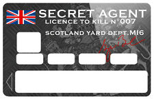 STICKER AGENT SECRET 007 CARTE BANCAIRE CREDIT CARD CB SKIN AUTOCOLLANT CC079