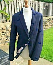 Vilagallo Designer Navy Blue Wool Blend Fitted Jacket With Dog Design Sz14 BNWT