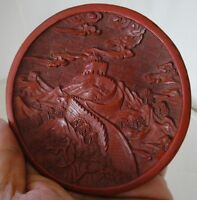 ANTIQUE CHINESE CARVED BY HAND RED LACQUER CINNABAR PLATE GREAT WALL OF CHINA