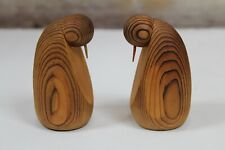 "Rare Pair Vintage Mid Century Modern 3 1/2"" Wood Penguins Leo Gervais Canada"