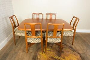 Vintage Danish Teak Dining Table and 6 Chairs by Ansanger Mobler