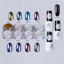 11pcs/set Nail Art Chameleon Mirror Chrome Glitter Dust Powder W/Gel Polish Kit