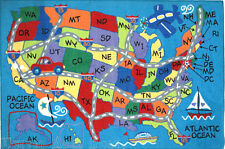 3x5 Educational Rug USA Travel Map States Initials Kids Play Road Kid America