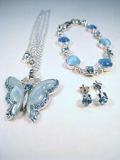 Ladies Matching BUTTERFLY BLUE GEMSTONE NECKLACE, BRACELET & EARRINGS