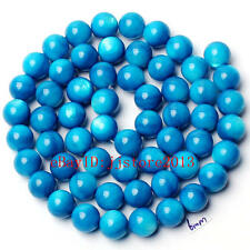6mm Pretty Natural Blue Shell MOP Round Shape Gemstone Loose Beads Strand 15""