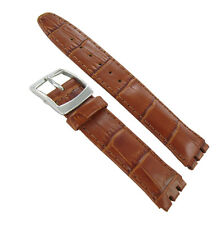 19mm Genuine Leather Alligator Grain Padded Tan Brown Watch Band Fits Swatch