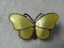 Vintage Norway 925 Guilloche Enamel Sterling Brooch Ivar Holt signed Butterfly